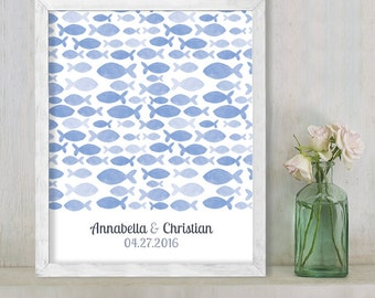 Wedding Guest Book Alternative Poster / Blue Fish Nautical Watercolor Guestbook Wedding Sign ▷ Printable File {or} Printed & Shipped