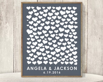 Modern Guest Book Alternative Poster / Heart Guest Book on Dark Gray ▷ Printable File {or} Printed & Shipped
