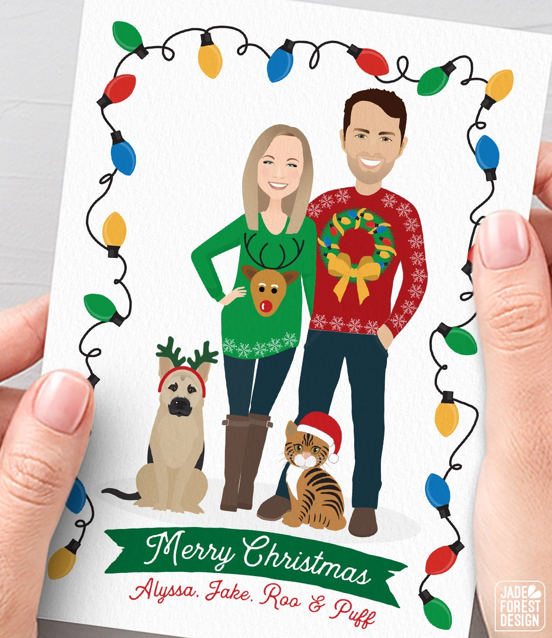 Funny Christmas Card with Ugly Sweater Cartoon Portrait, Funny ...
