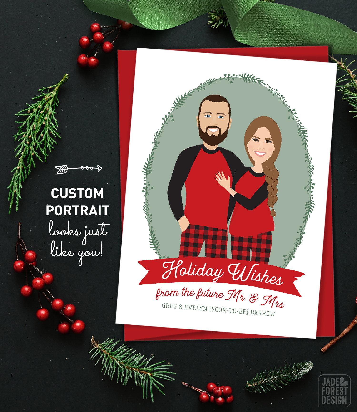Christmas Engagement Announcement Card, Custom Portrait Christmas ...