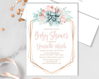 Succulent Baby Shower Invitation / Blush Flower Succulent Bouquet Faux Metallic Copper Watercolor Cactus▷Printed Invitations {or} Printable