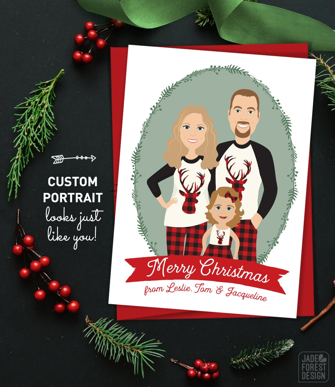 Christmas Pregnancy Announcement Card, Custom Portrait Christmas ...