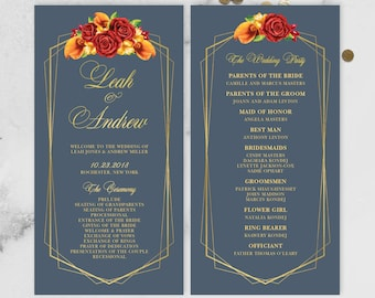 Fall Wedding Program / Bridal Party, Schedule / Red Rose Flower, Orange Calla Lilly Floral, Gold Geometric ▷ Printed Programs {or} Printable