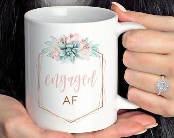 Engaged AF Mug, Funny Engagement Gift under 20, Future Mrs Gift Idea for Her, Succulent Coffee Mug or Tea Mug, Copper Succulent