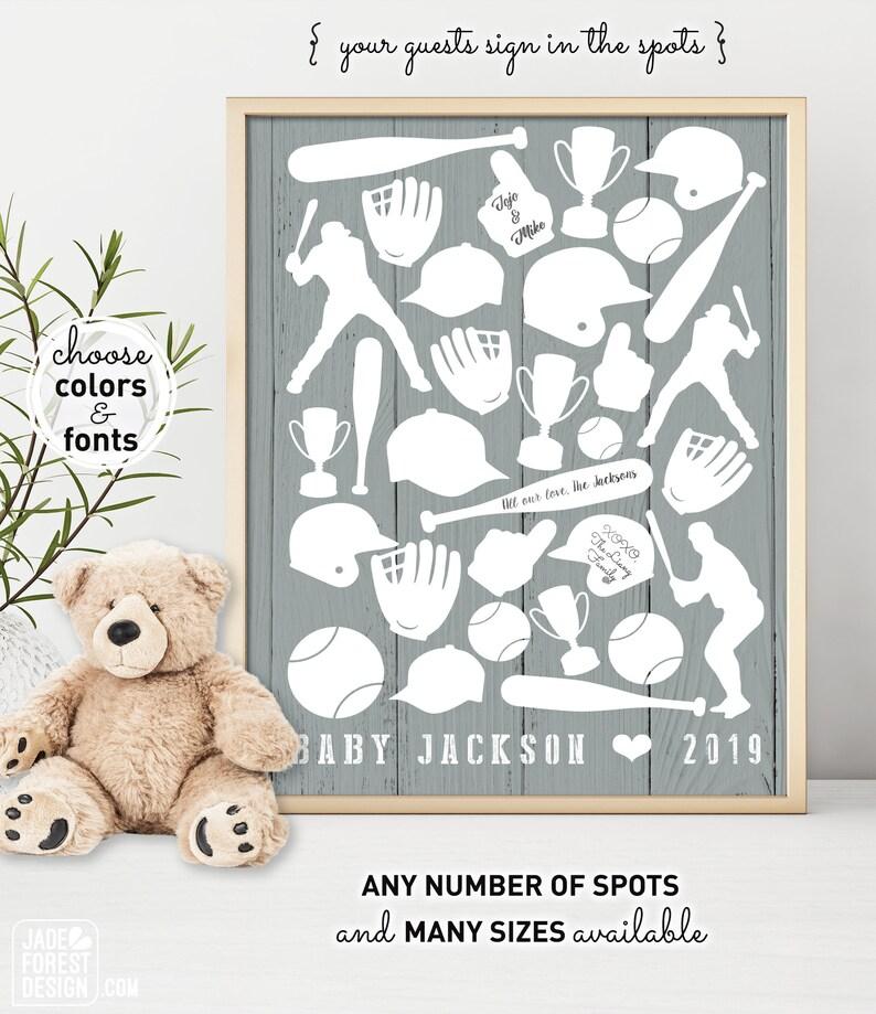 Baby Shower Guestbook Alternative Navy and Orange Nursery Wall Art Printable NY Mets Baseball Personalized Baseball Gift