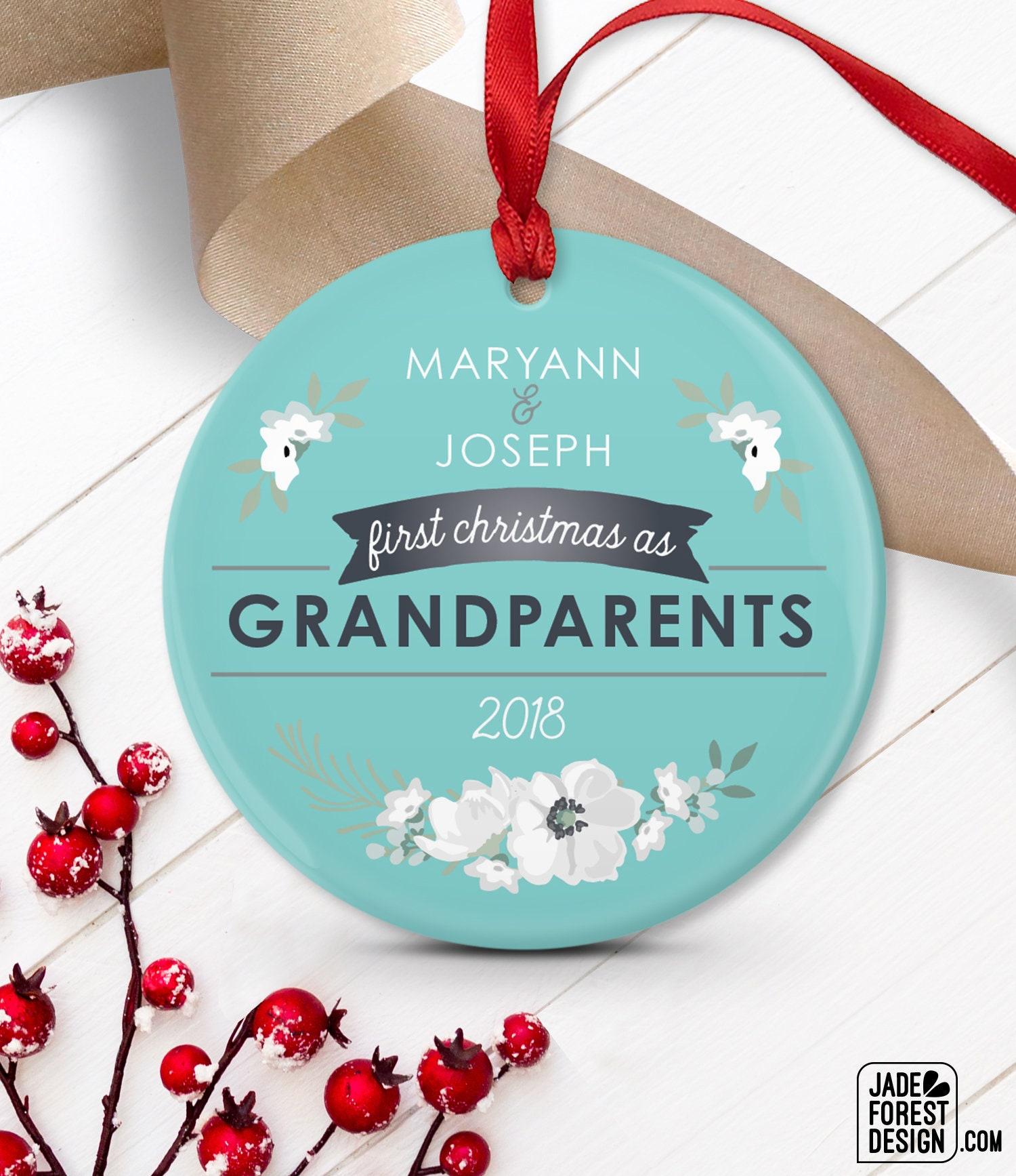 New Grandparents Ornament, Grandma & Grandpa Gift Idea, First ...