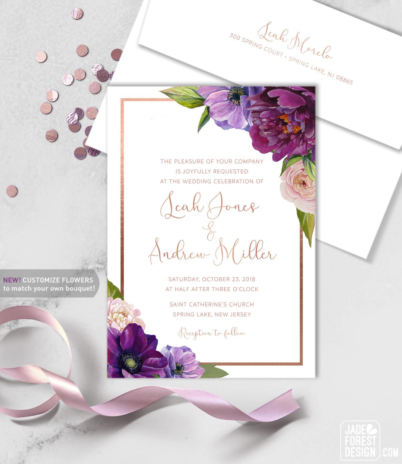 Purple Wedding Invitation / Purple Flowers, Anemone, Peony