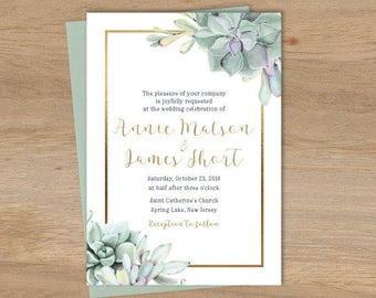 Succulent Wedding Invitation / Greenery and Gold Geometric / Green Cactus and Gold Calligraphy ▷ Printed Wedding Invitations {or} Printable