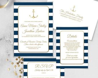 Nautical Invitation, Nautical, Personalized Wedding Invitations, Navy and White Stripes Wedding Invitation, Wedding Invites + RSVP Card