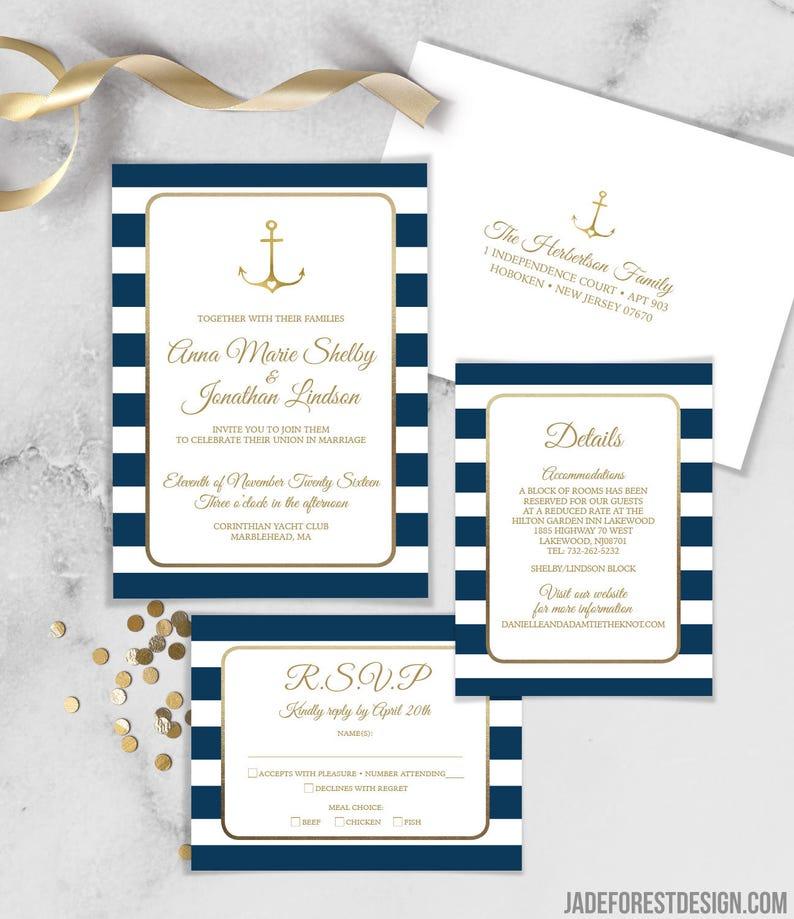 Nautical Invitation Nautical Wedding Invitations Wedding Etsy