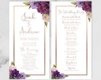 Purple Wedding Program Card / Bridal Party, Ceremony Schedule / Purple Flowers, Anemone Peony, Rose Gold ▷ Printed Programs {or} Printable