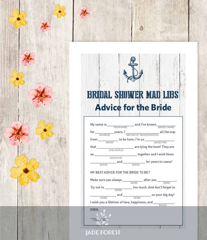 photo regarding Mad Libs Printable Pdf titled Nautical Bridal Shower Recreation Do-it-yourself / Nautical Card, Anchor