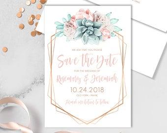 Succulent Save The Date Card / Blush Flower Succulent Bouquet Faux Metallic Copper Watercolor Cactus ▷ Printed Heavy Paper {or} Printable