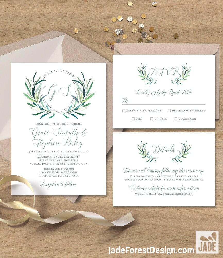Greenery Wedding Invitation Set / Eucalyptus Crest / Initial ...