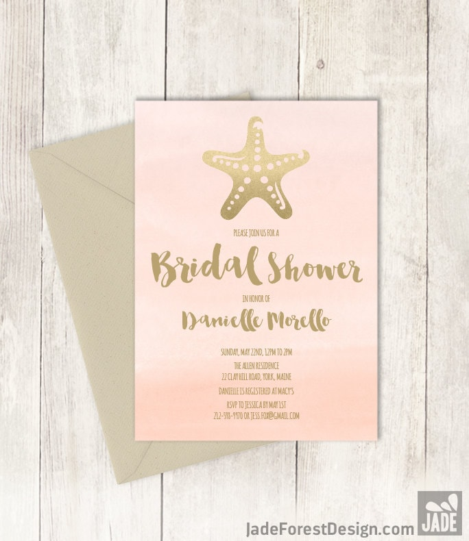 Beach bridal shower invitation golden blush pink champagne gold beach bridal shower invitation golden blush pink champagne gold starfish and blush watercolor printed heavy paper or printable filmwisefo