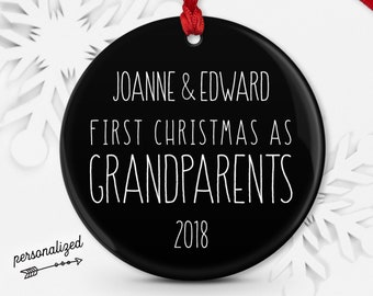 Minimalist Grandparents Ornament, Farmhouse Christmas Black and White Decor, New Grandparent Gift from Grandchild Keepsake Rustic