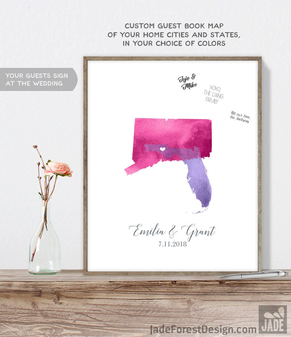Map Wedding Guest Book - Watercolor Map Guestbook for Wedding with