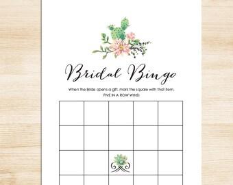 Bridal Shower Bingo Game DIY // Succulent Cactus, Mexican // Fiesta Bridal Bingo Printable PDF // Wedding Shower Game ▷ Instant Download
