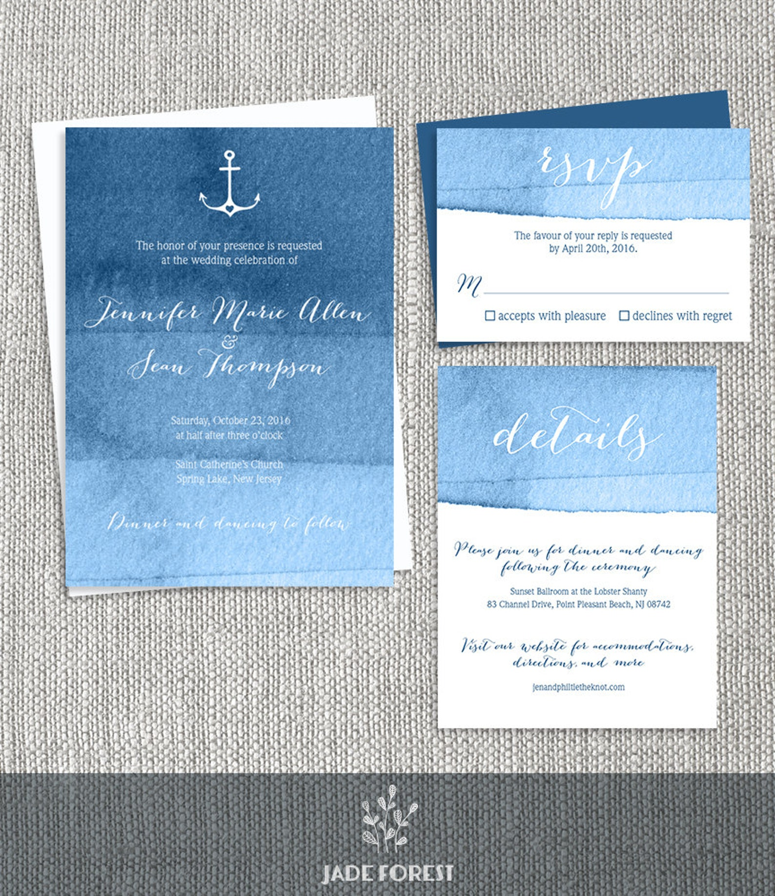 Modern Nautical Wedding Invitation Set