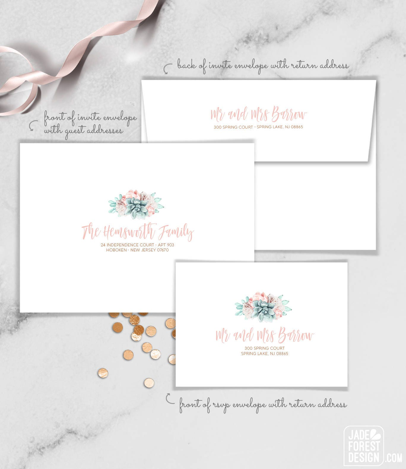 Succulent Envelopes with Guest & Return Address Printing /