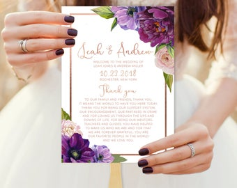 Purple Ceremony Program Fan / Bridal Party / Purple Flowers, Anemone Peony, Rose Gold ▷ Printed Fans {or} Printable *ASSEMBLY REQUIRED*