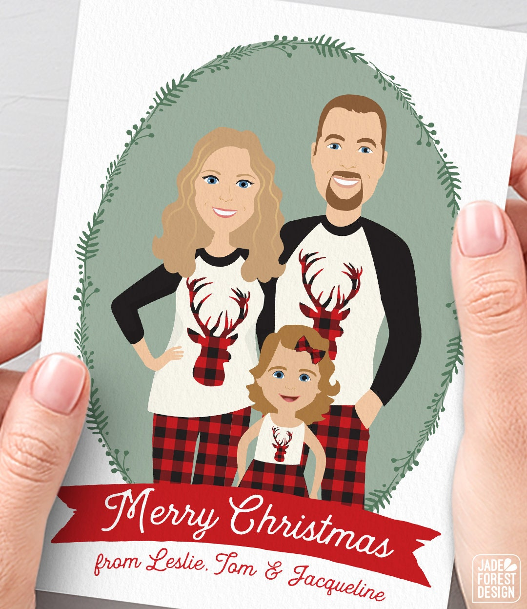 family christmas card unique christmas cards with custom family portrait in matching christmas pajamas - Unique Photo Christmas Cards