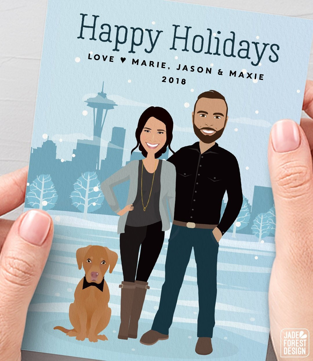 Seattle Holiday Card, Custom Couple Portrait with Pet, Personalized ...