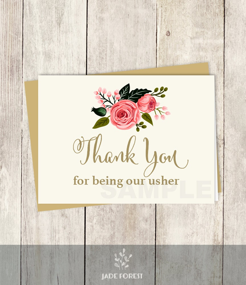 To Our Usher Card Wedding Thank You Card Diy Watercolor Flower