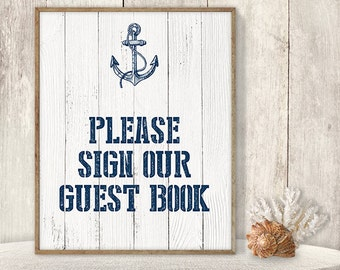 Please Sign Our Guest Book // Wedding Guest Book Sign DIY // Nautical Sign, Navy Anchor Printable PDF // Nautical Planks ▷ Instant Download