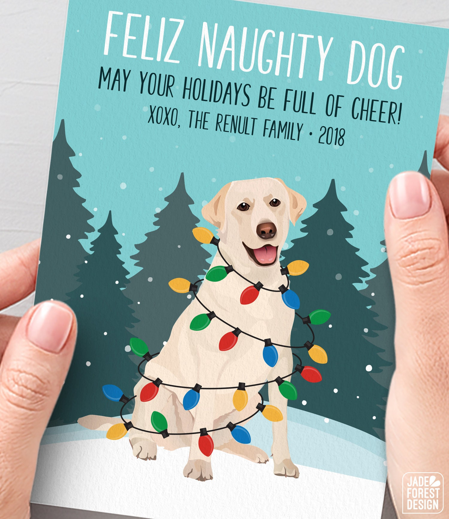 Yellow Lab Christmas Card, Funny Christmas Cards with Custom Dog ...