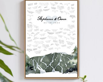 Mountain Wedding Guest Book Alternative • Stowe Mountain Guestbook Canvas for Outdoor Wedding • Large Digital Watercolor Wedding Wall Art