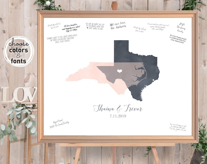 Featured listing image: Wedding Guest Book Alternative, Watercolor Guestbook Map, Blush & Gray States Map Guest Book {moa}