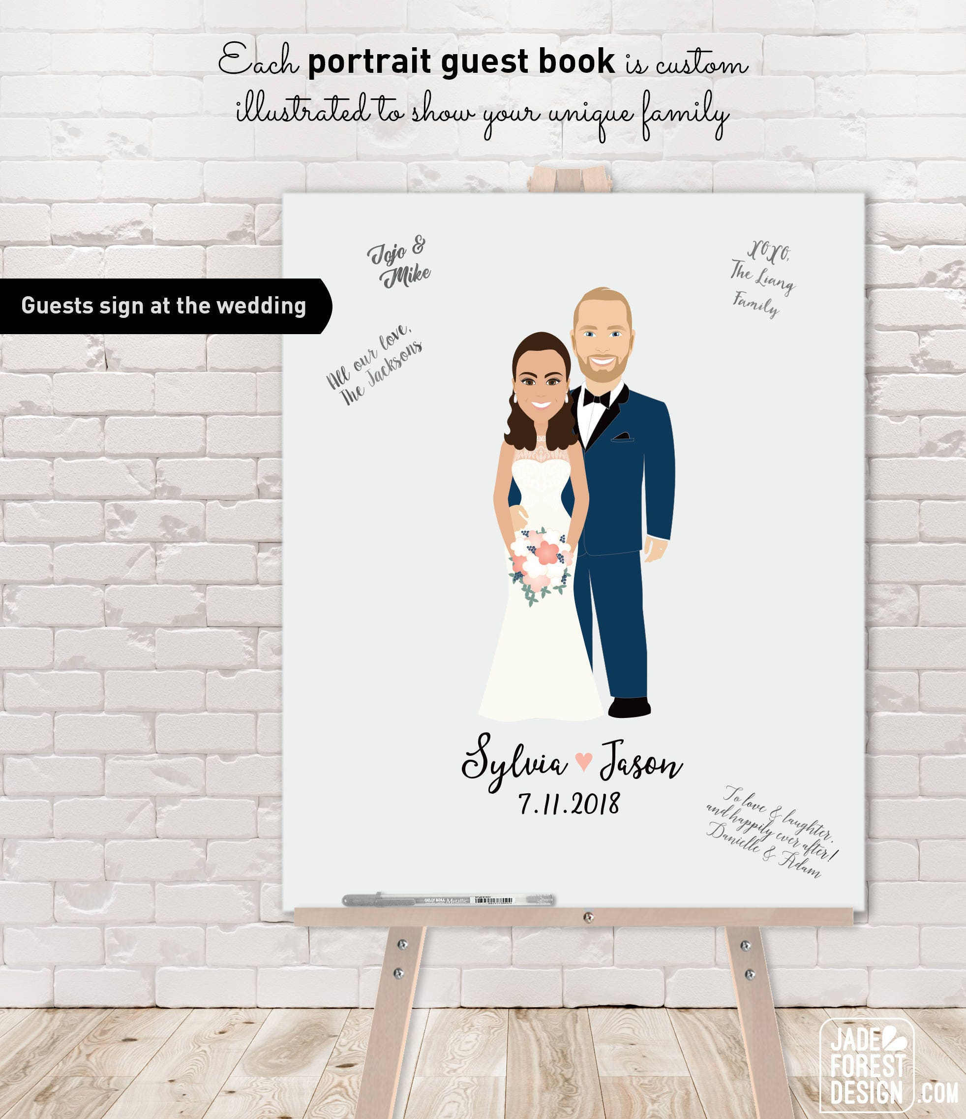 Couple Illustration Wedding Guest Book Alternative Custom