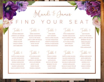 Purple Wedding Seating Chart Sign /  Purple Flowers, Anemone, Ranunculus, Peony, Rose Gold Wedding ▷ Printed Paper, Canvas {or} Printable