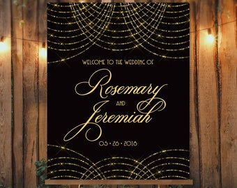 Great Gatsby Wedding Welcome Sign / String Light Bokeh Gold Fairy Lights, Black and Gold Art Deco ▷ Canvas, Paper, Board {or} Printable