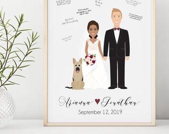 Wedding Guest Book Alternative, Custom Couple Portrait, Alternative Guest Book Canvas Sign for Fall Wedding