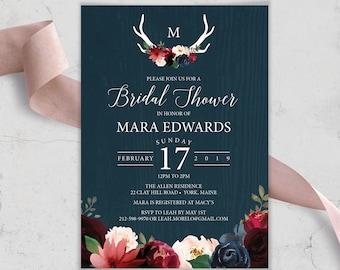 Rustic Bridal Shower Invitation, Burgundy Navy Boho Shower Invite, Marsala Blush Flowers and Antlers, PRINTED INVITATION or printable invite