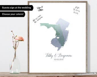 Guest Book, Wedding, Wedding Guestbook, Wedding Sign, Guest Book Canvas, Personalized Gift, Anniversary Gift, Florida Map, New Jersey {moa}