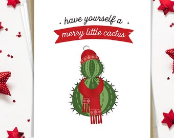 Funny Christmas Card Set, Cactus Holiday Card Set of 15 Greeting Cards with Envelopes, Merry Christmas, Small Cute Notecards