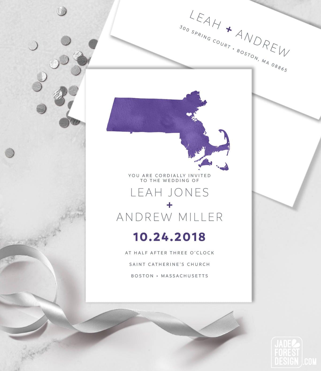 Ultra Violet Wedding Invitation Set / Purple Watercolor Map, Wedding ...