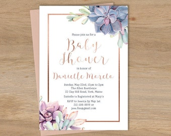 Succulent Baby Shower Invitation / Greenery and Rose Gold Geometric / Cactus and Copper Calligraphy ▷ Printable File {or} Printed & Shipped