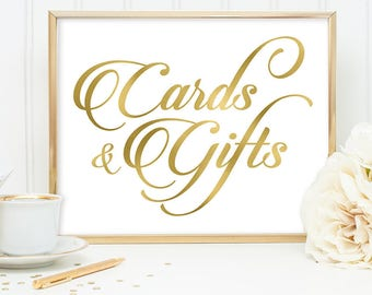 Cards & Gifts Sign DIY, Wedding Card Table Sign / Gold Wedding Sign / White Gold Calligraphy, Faux Metallic Gold ▷Instant Download JPEG