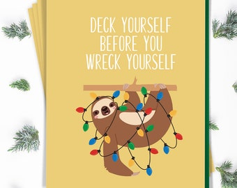 Sloth Christmas Card Set, Funny Notecard Set of 15 Cards with Envelopes, Goldenrod Yellow, Sloth Holiday Note Cards Printed (or Printable)