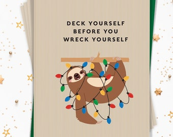 Sloth Christmas Card Set, Funny Notecard Set of 15 Cards with Envelopes, Rustic Sloth Holiday Note Cards Printed (or Printable)