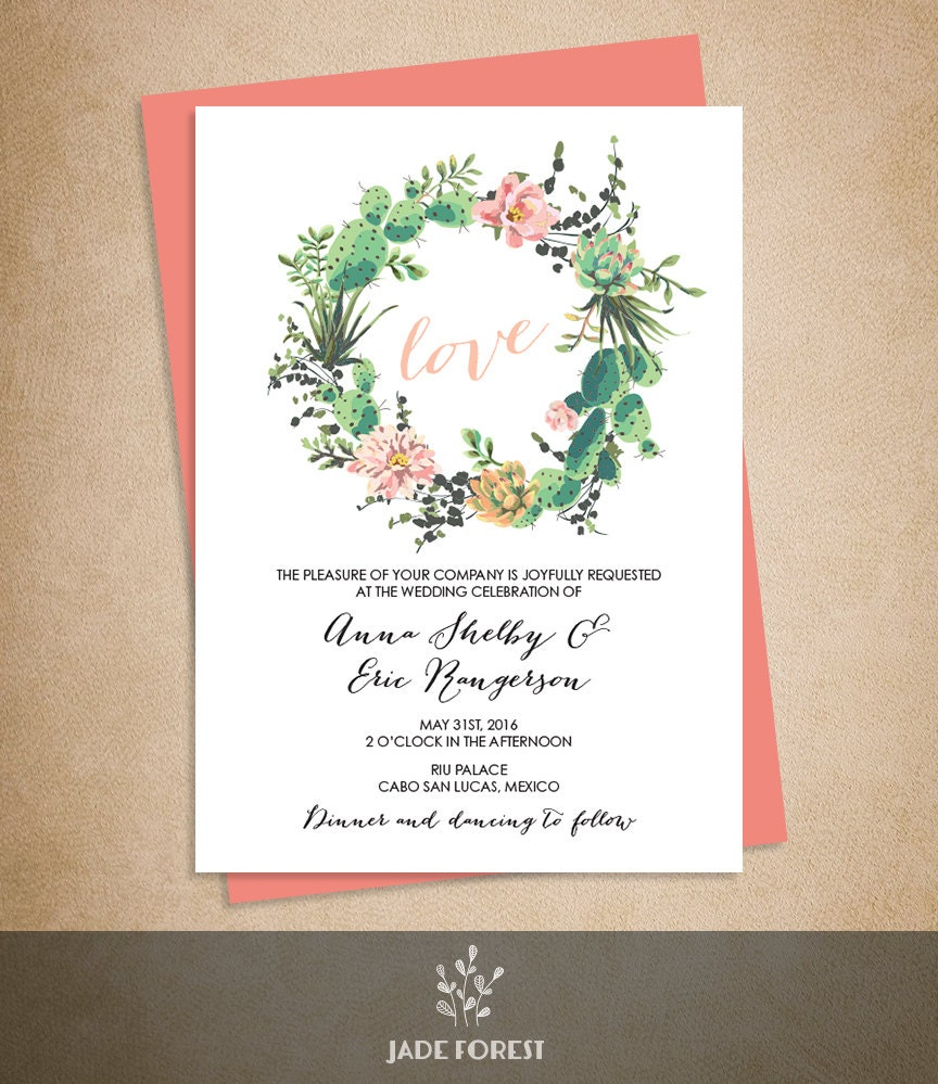 Floral Wedding Invitation / Pink Flowers and Cactus Succulent ...