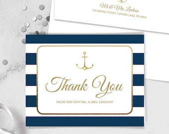 Nautical Thank You Card / Nautical Stripes / Navy Stripes, Gold Anchor / Navy and Gold ▷ Printed Heavy Paper {or} Printable