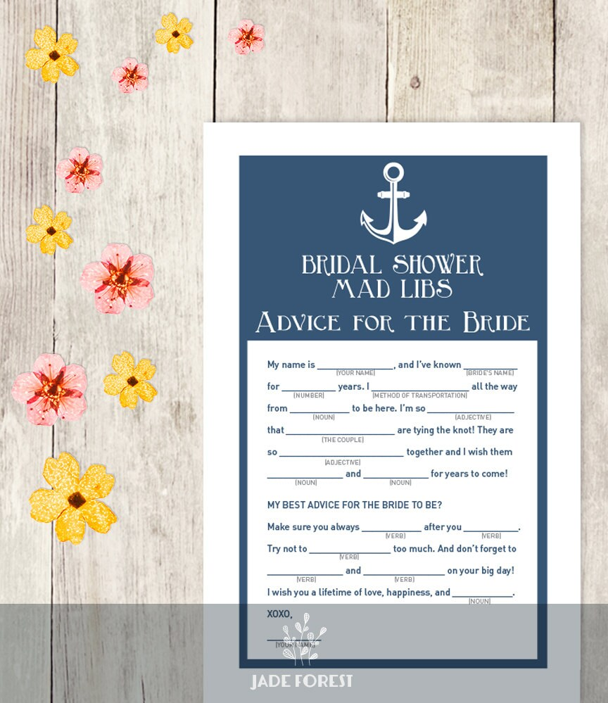 nautical bridal shower game diy navy blue and anchor mad libs printable pdf advice for the bride wedding shower instant download