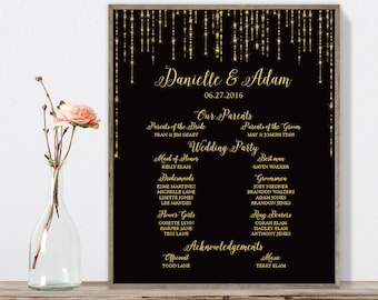 Elegant Wedding Welcome Sign / Bridal Party / Great Gatsby Bokeh String Light / Black and Gold ▷ Printable File {or} Printed & Shipped