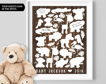 Safari Baby Shower Guest Book Alternative / Faux Wood Zoo Animal Guest Book, Elephant Baby Shower ▷Canvas, Board, Paper {or} Printable