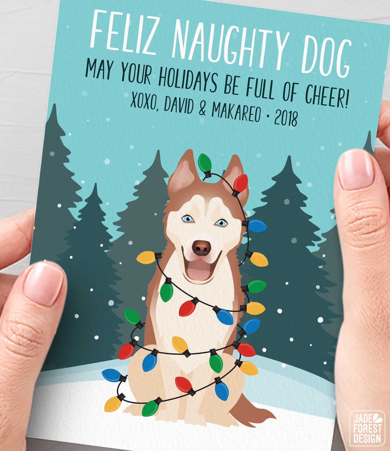 Husky Christmas Cards.Copper Husky Christmas Card Unique Holiday Cards With